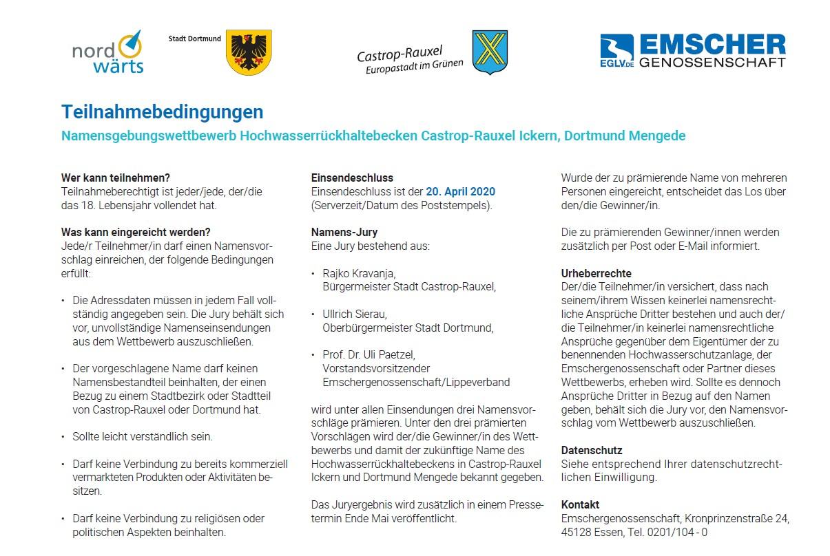 Namenswettbewerb zum Hochwasserrückhaltebecken (HRB) Mengede/Ickern